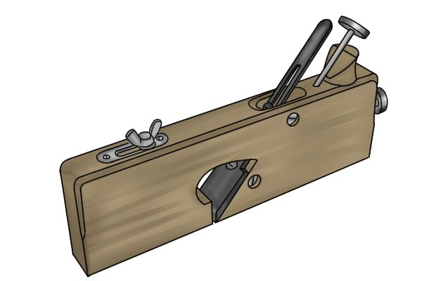 Wooden rebate plane with metal clamp and adjusters