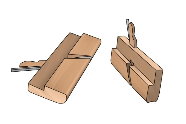 Two moulding planes - convex and concave shapes
