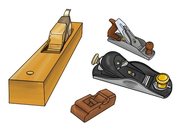 A set of woodworking hand planes