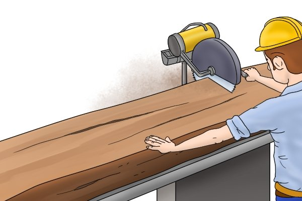 Cutting stock to size with a bench saw