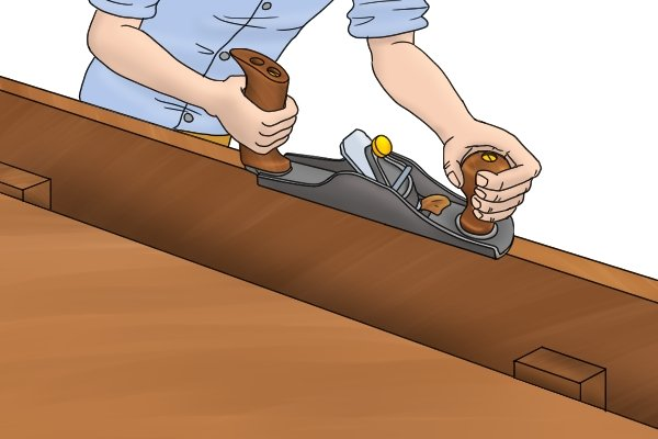 Reducing rough stock with a hand plane