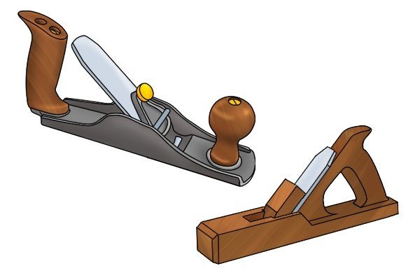 Metal and wooden scrub planes