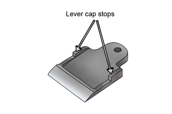 Lever cap stops on a scrub plane