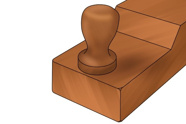 Front knob of a wooden scrub plane