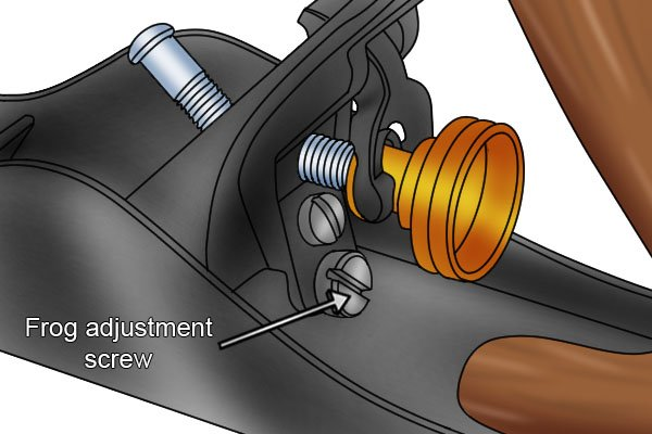 The frog adjustment screw of a standard bench plane