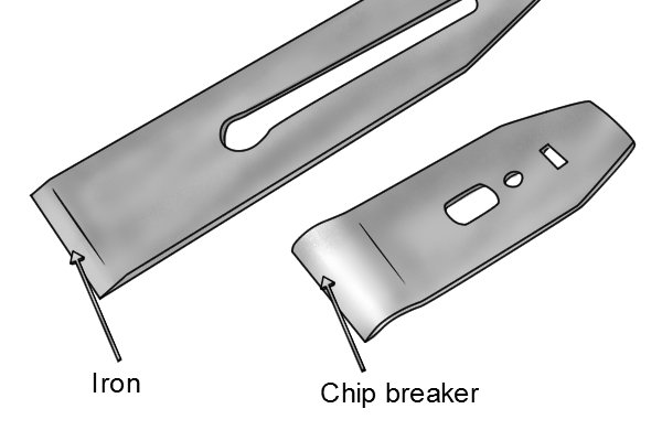 Bench plane chip breaker and iron