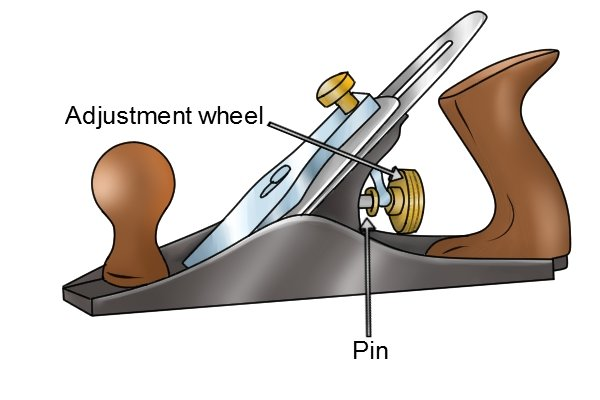 Depth adjustment wheel of a Stanley Bailey type bench plane