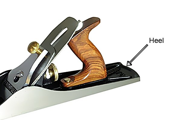 The heel of a woodworking bench plane