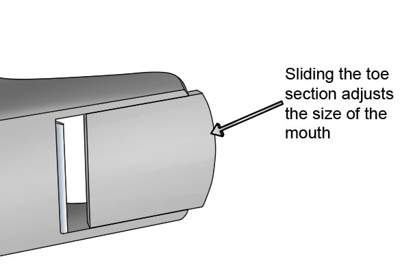 Sliding toe section adjusts the size of the hand plane's mouth