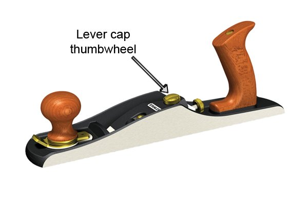 Lever cap thumbwheel of low-angle bench plane