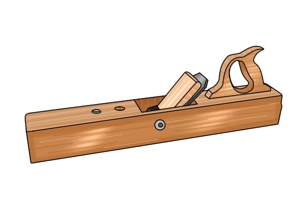 What are the parts of a wooden bench plane?
