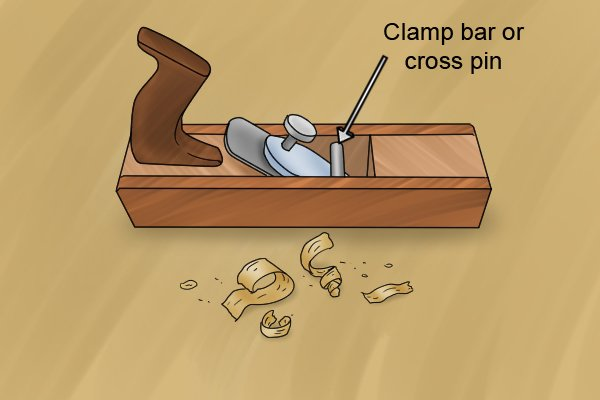 Clamp bar or cross pin of a wooden bench plane