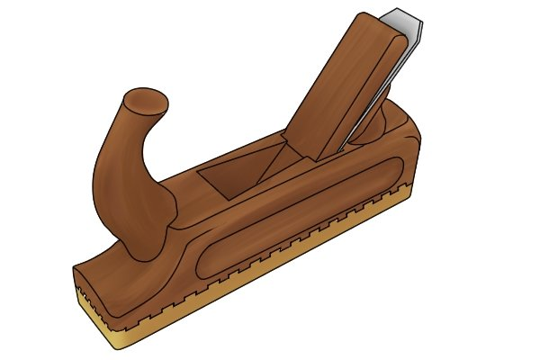 Wooden jack plane with horn-shaped front handle
