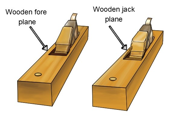 Wooden jack and wooden fore plane