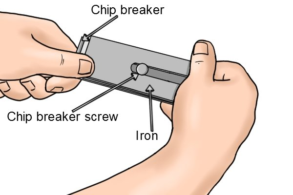 Separating the chip breaker from the iron of a hand plane