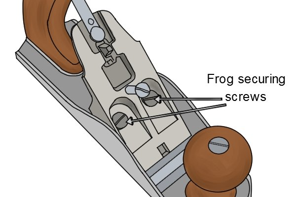 Frog securing screws in Stanley Bailey-style bench plane
