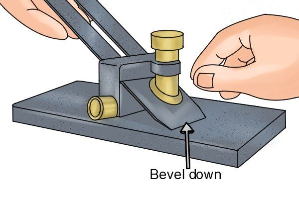 Bench plane iron fits into honing guide bevel down