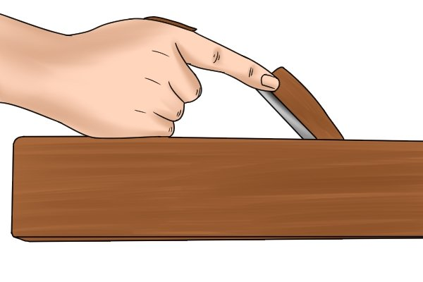 Use a three-finger grip on the tote of a bench plane