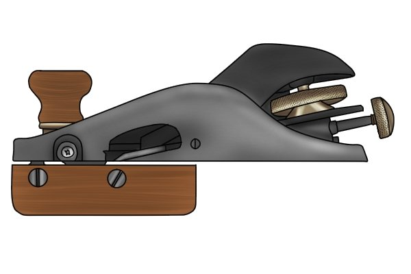 Iron adjusters on metal block plane