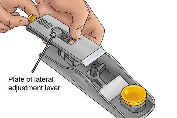 Plate of block plane's lateral adjustment lever