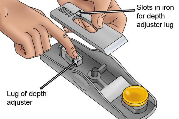 Lug of block plane's adjustment mechanism fits into slot in iron
