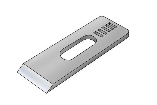 Block plane iron with straight cutting edge