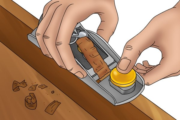 Two-handed grip on block plane
