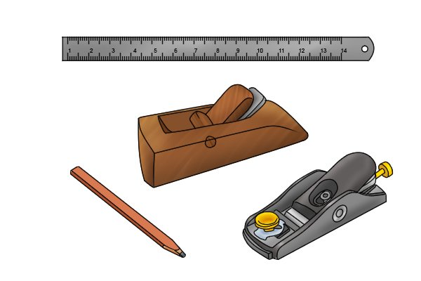 Block planes, pencil and rule