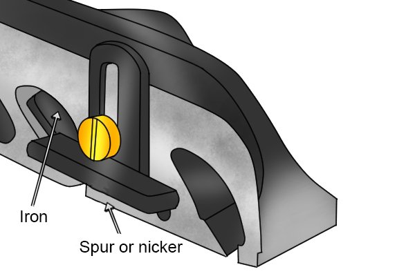 Iron and nicker of a metal rebate plane