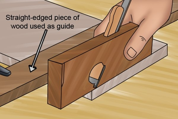 Using a clamped piece of wood as guide when rebate planing