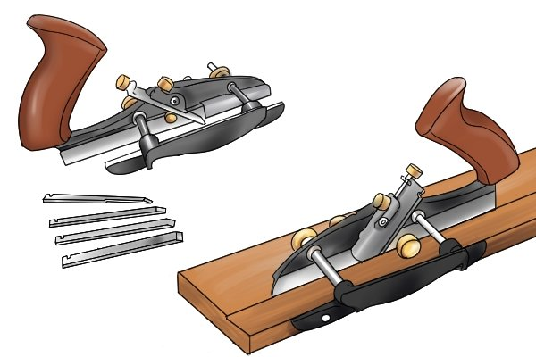 Grooving plane with irons of different widths