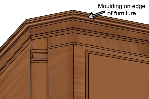 Moulding on edge of furniture cut with moulding plane