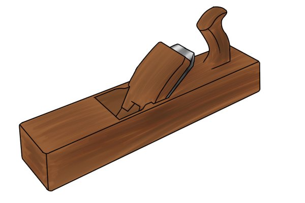 Sole of wooden moulding plane shaped for one style of moulding