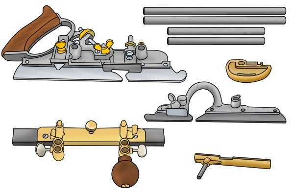 A Stanley combination plane and accessories