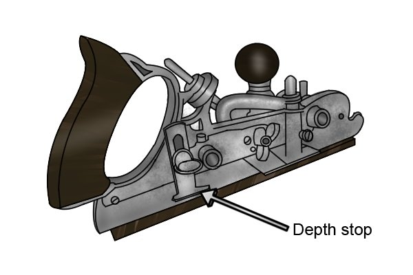Depth stop of a combination plane; woodworking hand planes