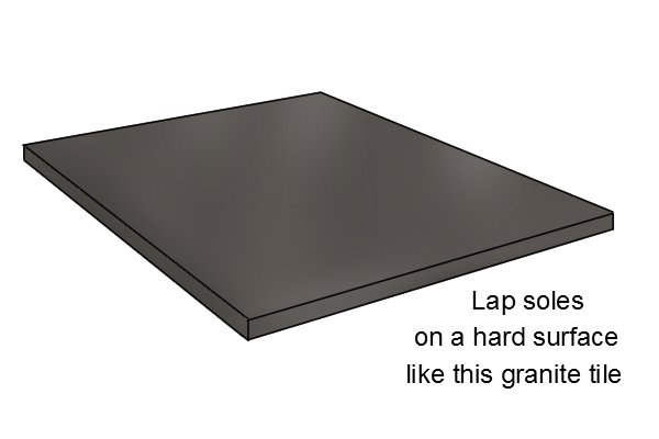 Use a hard surface like a granite tile when lapping soles; flattening hand plane soles; woodworking planes
