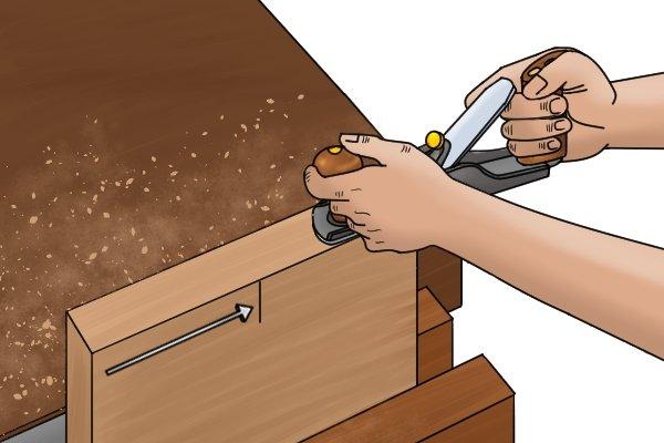 Start position for plane when planing end grain
