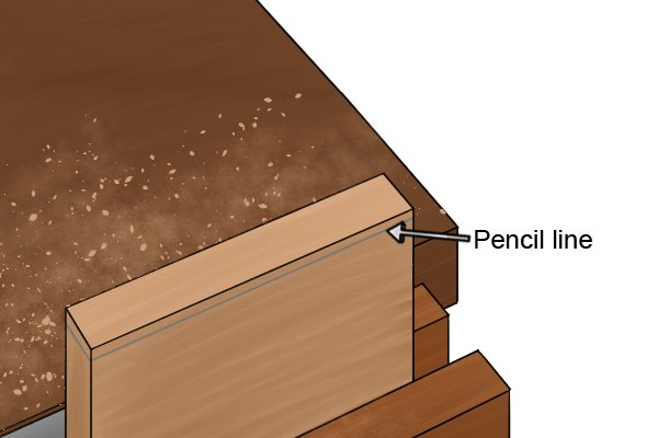 Mark workpiece with pencil line before planing end grain