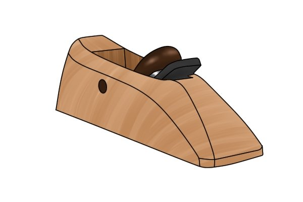 A wooden block plane's iron is usually bedded bevel down