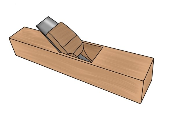 Low-angle wooden block plane with iron bedded at 35° bevel down
