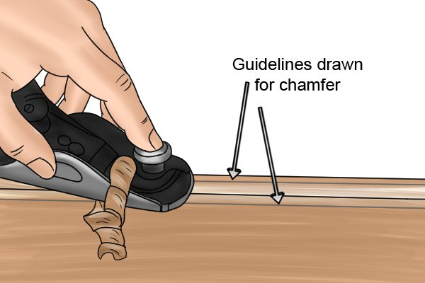 Chamfering with a metal block plane