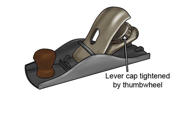 Thumbwheel lever cap on a block plane