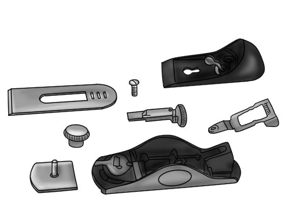 Exploded view of metal block plane