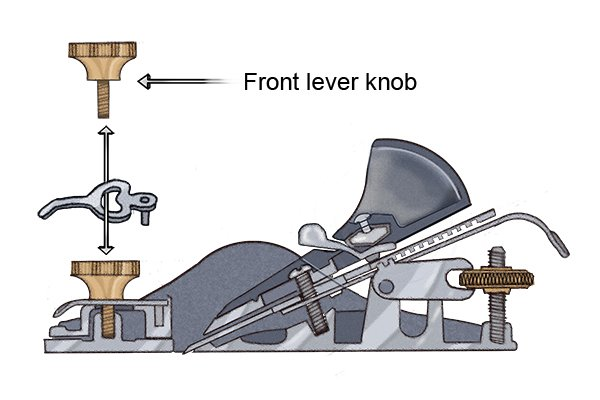 Font knob of a metal block plane