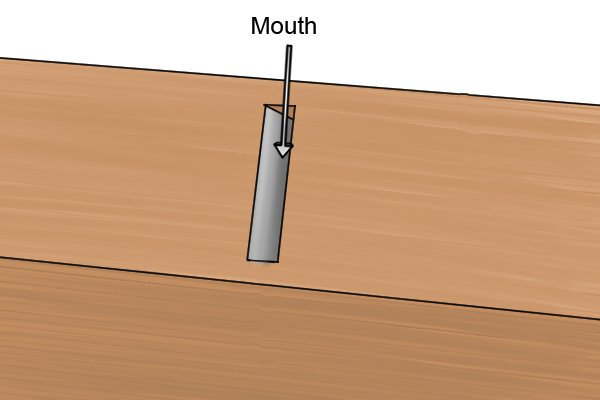 The mouth of a wooden block plane