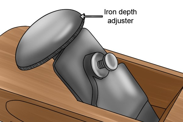 Wooden block plane with iron adjustment knob that doubles as palm rest