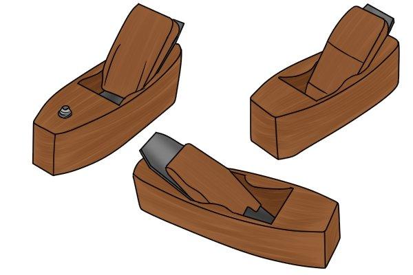 A trio of wooden block planes