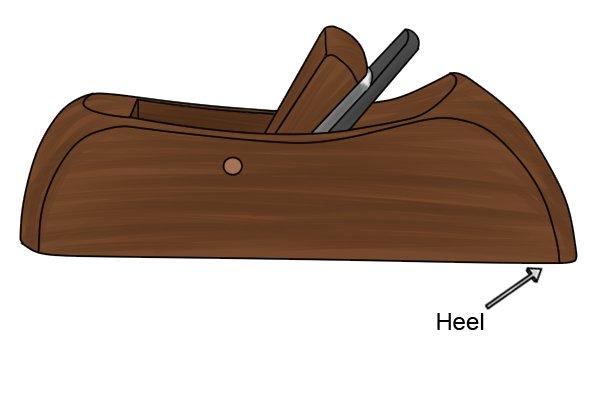 The heel of a wooden block plane