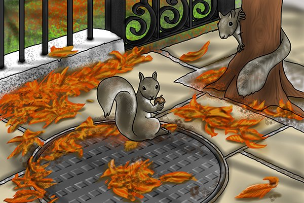 Squirrel in a manhole cover
