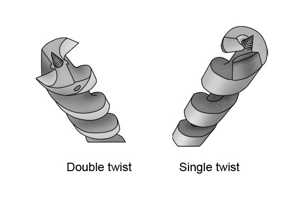 A single twist auger bit and a double twist auger bit showing the tips and the number of lips